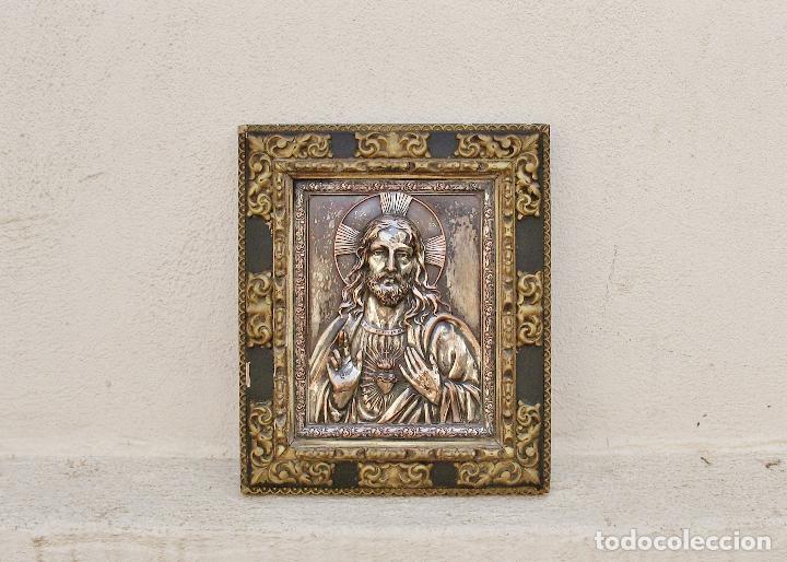 Arte: RETABLO DE JESUCRISTO EN METAL Y EN RELIEVE- FIRMADO AYM - Foto 2 - 96075387