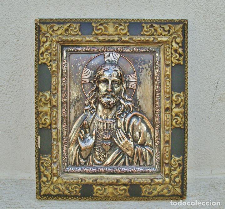 Arte: RETABLO DE JESUCRISTO EN METAL Y EN RELIEVE- FIRMADO AYM - Foto 3 - 96075387
