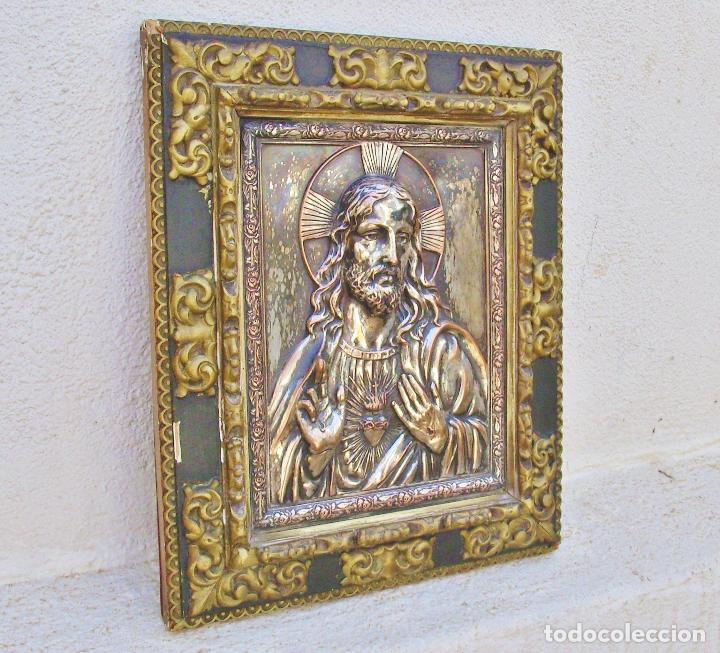 Arte: RETABLO DE JESUCRISTO EN METAL Y EN RELIEVE- FIRMADO AYM - Foto 5 - 96075387