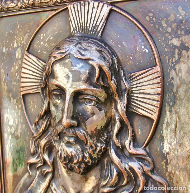 Arte: RETABLO DE JESUCRISTO EN METAL Y EN RELIEVE- FIRMADO AYM - Foto 6 - 96075387