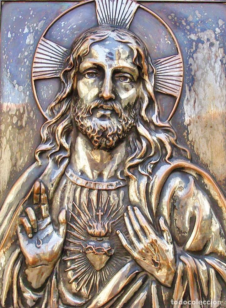 Arte: RETABLO DE JESUCRISTO EN METAL Y EN RELIEVE- FIRMADO AYM - Foto 7 - 96075387