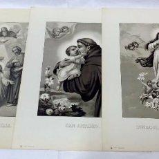 Arte: LOTE 3 ANTIGUAS LITOGRAFÍAS RELIGIOSAS, S. DURÁ. VALENCIA. Lote 96302283