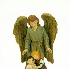 Arte: EXQUISITA Y PRECIOSA FIGURA ANGEL DE LA GUARDA RESINA ITALIANA VERONESE CON BELLISIMOS COLORES.. Lote 96347460