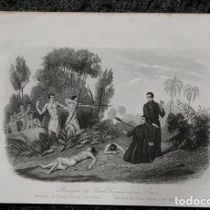 Arte: 1863 - GRABADO - MARTIRIO DE PEDRO CORREA Y DE SOUZA - 180X124MM. Lote 96362659