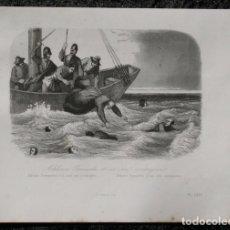 Arte: 1863 - GRABADO - MARTIRIO ALFONSO FERNANDEZ Y SUS SEIS COMPAÑEROS - 179X140MM. Lote 96362927