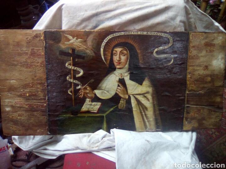 PINTURA SOBRE TABLA.SANTA TERESA. S XVII (Arte - Arte Religioso - Pintura Religiosa - Oleo)