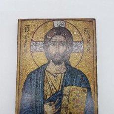 Arte: ANTIGUO ICONO BIZANTINO SOBRE RETABLO DE MADERA CON IMAGEN ORTODOXA DE JESUCRISTO.. Lote 96523239