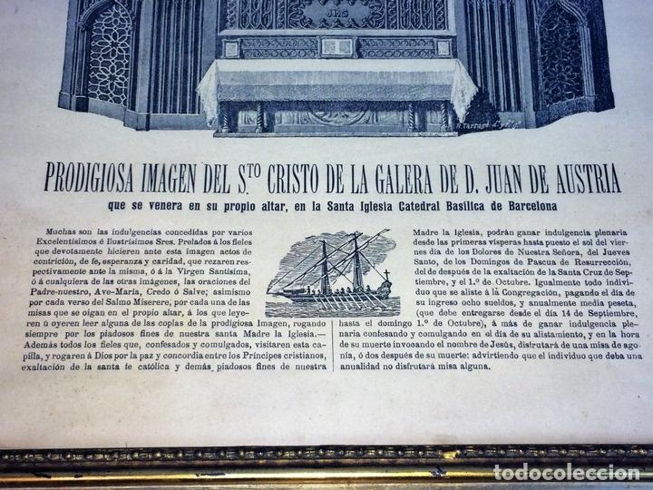 Arte: SANTO CRISTO DE LEPANTO. INDULGENCIAS. LITOGRAFIA. TARRAGÓ. ESPAÑA. XIX - Foto 4 - 96605599