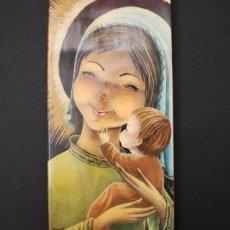 Arte: CUADRO VINTAGE DE MADERA AÑOS 60 DE LA VIRGEN MARIA Y EL NIÑO, BUNERI, 27 X 14 CM. Lote 96611267