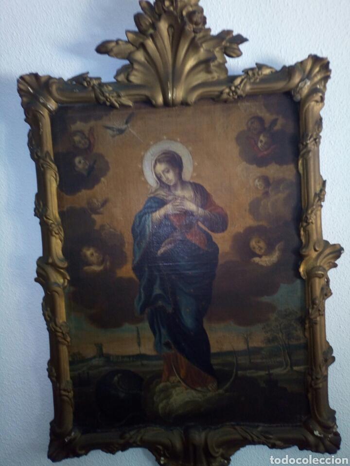 INMACULADA SIGLO XVIII, OLEO SOBRE LIENZO. (Arte - Arte Religioso - Pintura Religiosa - Oleo)