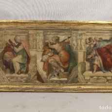 Arte: CAPILLA SIXTINA MIGUEL ANGEL - PERSICHA, EZECHIEL, CUADRO CON LAMINA. Lote 106679996