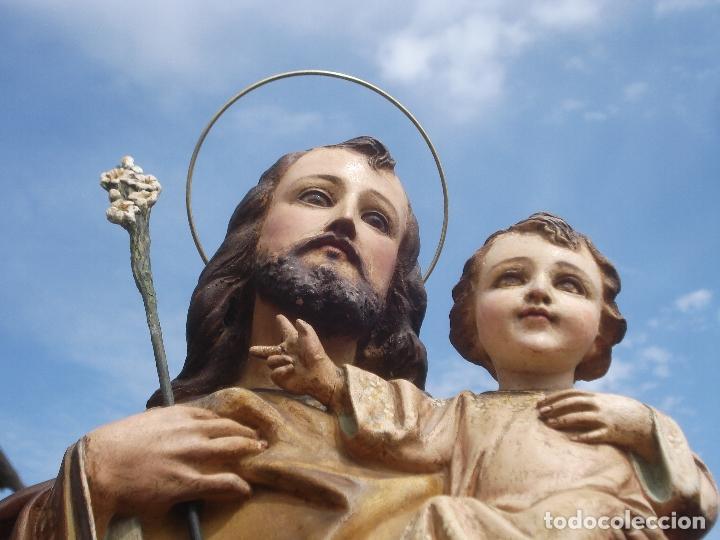 SAN JOSE CON NIÑO PASTA DE MADERA OLOT (Arte - Arte Religioso - Escultura)