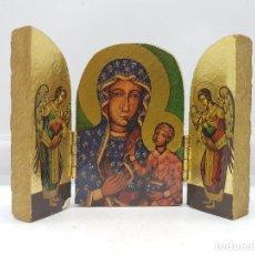 Arte: ANTIGUO TRIPTICO RELIGIOSO EN MADERA DE VIAJE O PARA ALTAR DE LA VIRGEN CON LOS APOSTOLES.. Lote 96975835