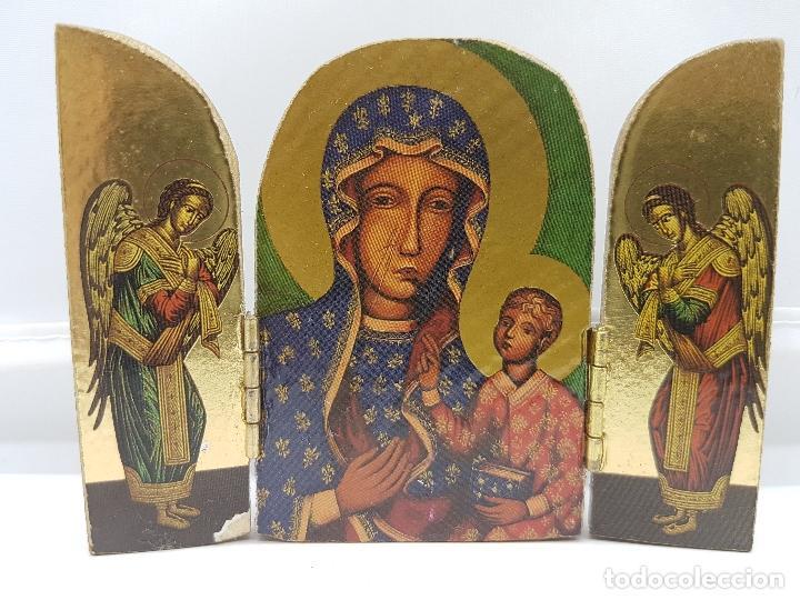 Arte: Antiguo triptico religioso en madera de viaje o para altar de la virgen con los apostoles. - Foto 3 - 96975835