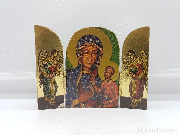 Arte: Antiguo triptico religioso en madera de viaje o para altar de la virgen con los apostoles. - Foto 4 - 96975835