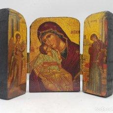 Arte: ANTIGUO TRIPTICO RELIGIOSO EN MADERA DE VIAJE O PARA ALTAR DE LA VIRGEN CON LOS APOSTOLES.. Lote 96975883