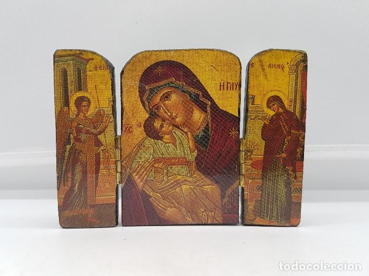 Arte: Antiguo triptico religioso en madera de viaje o para altar de la virgen con los apostoles. - Foto 2 - 96975883