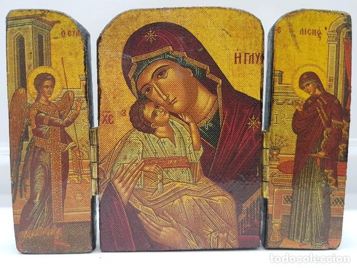 Arte: Antiguo triptico religioso en madera de viaje o para altar de la virgen con los apostoles. - Foto 3 - 96975883