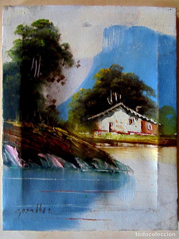 BONITO CUADRO A OLEO EN TELA SOBRE BASTIDOR DE - GOZALBEZ - AÑOS 80 .TAMAÑO 25 X 20 CMS (Arte - Arte Religioso - Pintura Religiosa - Oleo)