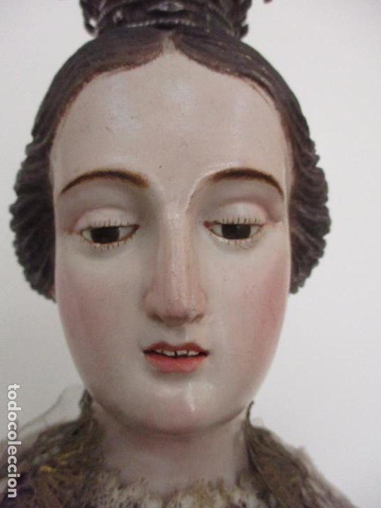 PRECIOSA VIRGEN DEL CARMEN - CAP Y POTA - TALLA MADERA - PLATA - BORDADO HILO DE ORO - 97 CM -S. XIX (Arte - Arte Religioso - Escultura)