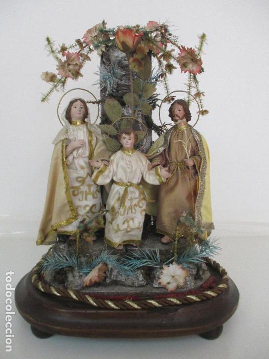 Arte: Sagrada Familia - Cap y Pota - Isabelina - Terracota - en Urna, Fanal de Cristal - S. XIX - Foto 3 - 97052651