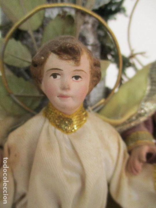 Arte: Sagrada Familia - Cap y Pota - Isabelina - Terracota - en Urna, Fanal de Cristal - S. XIX - Foto 5 - 97052651