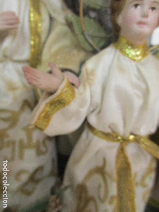 Arte: Sagrada Familia - Cap y Pota - Isabelina - Terracota - en Urna, Fanal de Cristal - S. XIX - Foto 7 - 97052651