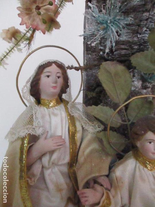 Arte: Sagrada Familia - Cap y Pota - Isabelina - Terracota - en Urna, Fanal de Cristal - S. XIX - Foto 11 - 97052651