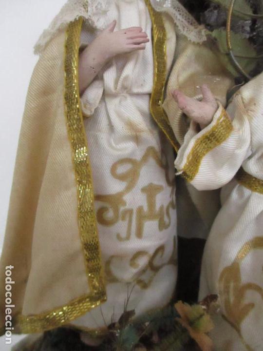 Arte: Sagrada Familia - Cap y Pota - Isabelina - Terracota - en Urna, Fanal de Cristal - S. XIX - Foto 13 - 97052651