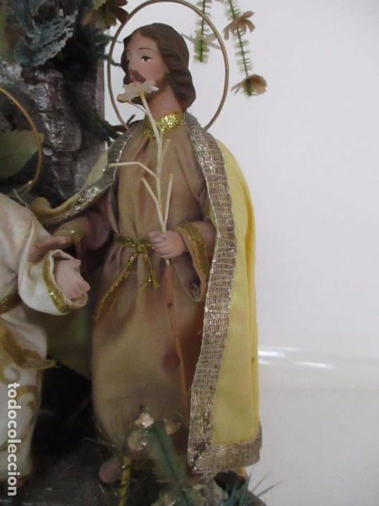 Arte: Sagrada Familia - Cap y Pota - Isabelina - Terracota - en Urna, Fanal de Cristal - S. XIX - Foto 14 - 97052651