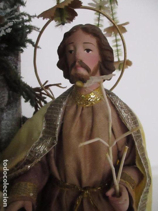 Arte: Sagrada Familia - Cap y Pota - Isabelina - Terracota - en Urna, Fanal de Cristal - S. XIX - Foto 15 - 97052651
