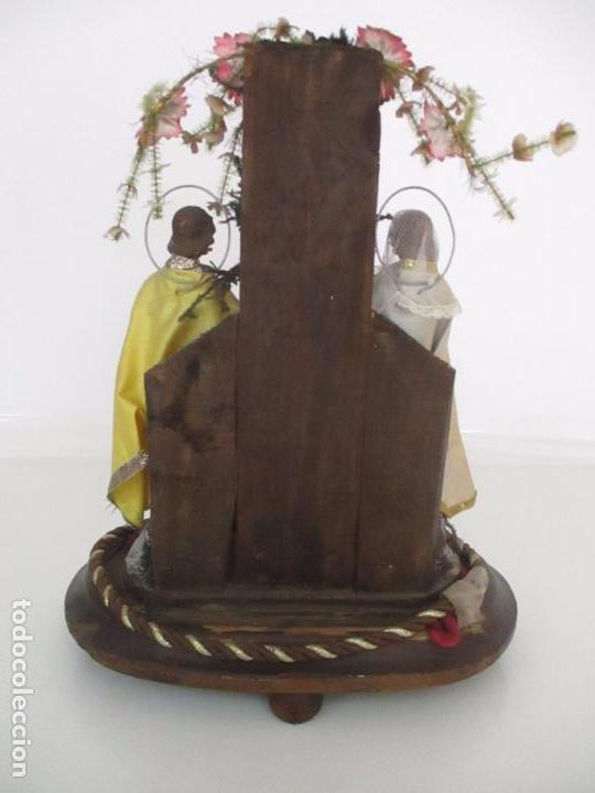Arte: Sagrada Familia - Cap y Pota - Isabelina - Terracota - en Urna, Fanal de Cristal - S. XIX - Foto 20 - 97052651
