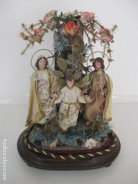Arte: Sagrada Familia - Cap y Pota - Isabelina - Terracota - en Urna, Fanal de Cristal - S. XIX - Foto 22 - 97052651