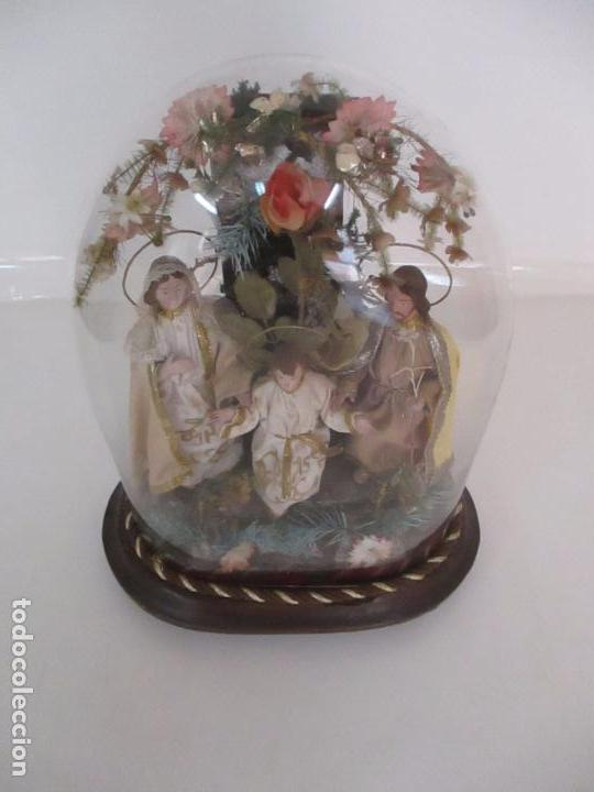 Arte: Sagrada Familia - Cap y Pota - Isabelina - Terracota - en Urna, Fanal de Cristal - S. XIX - Foto 25 - 97052651