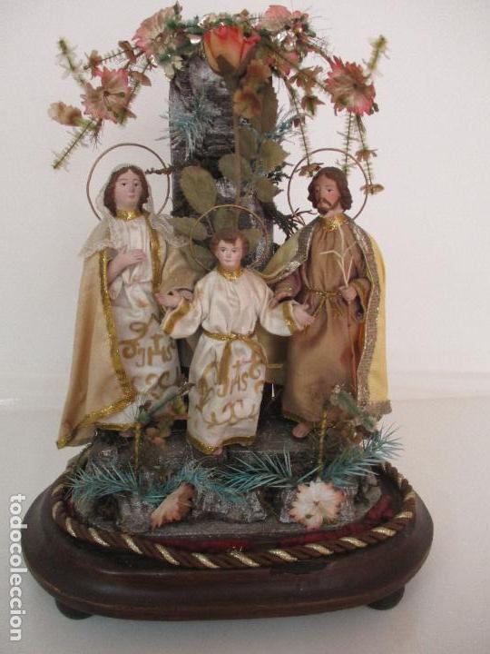 Arte: Sagrada Familia - Cap y Pota - Isabelina - Terracota - en Urna, Fanal de Cristal - S. XIX - Foto 29 - 97052651