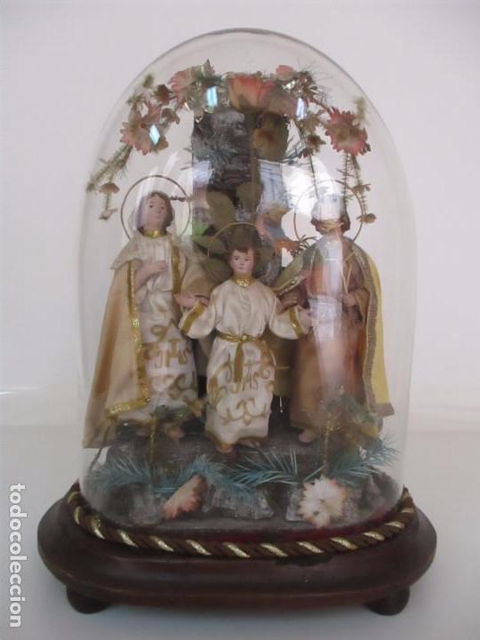 Arte: Sagrada Familia - Cap y Pota - Isabelina - Terracota - en Urna, Fanal de Cristal - S. XIX - Foto 30 - 97052651