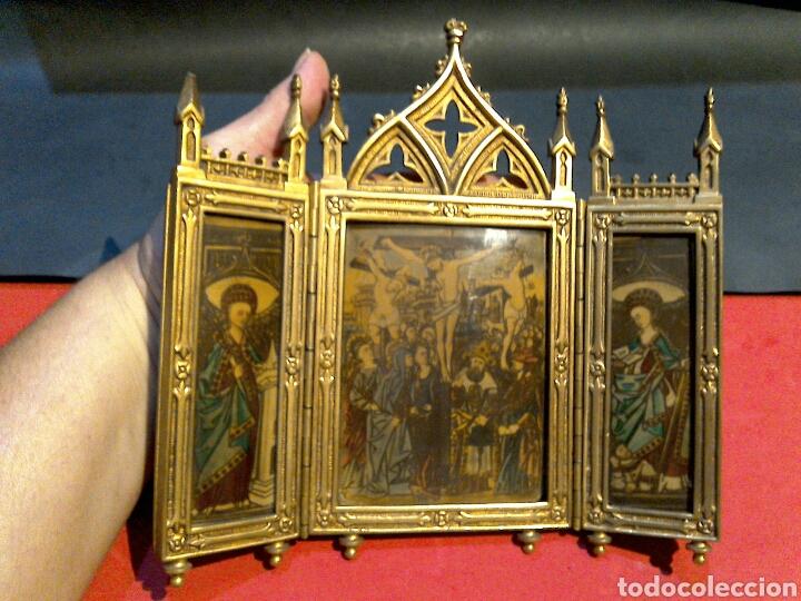 ANTIGUO ICONO TRIPTICO ORTODOXO RUSO EN BRONCE (Arte - Arte Religioso - Trípticos)