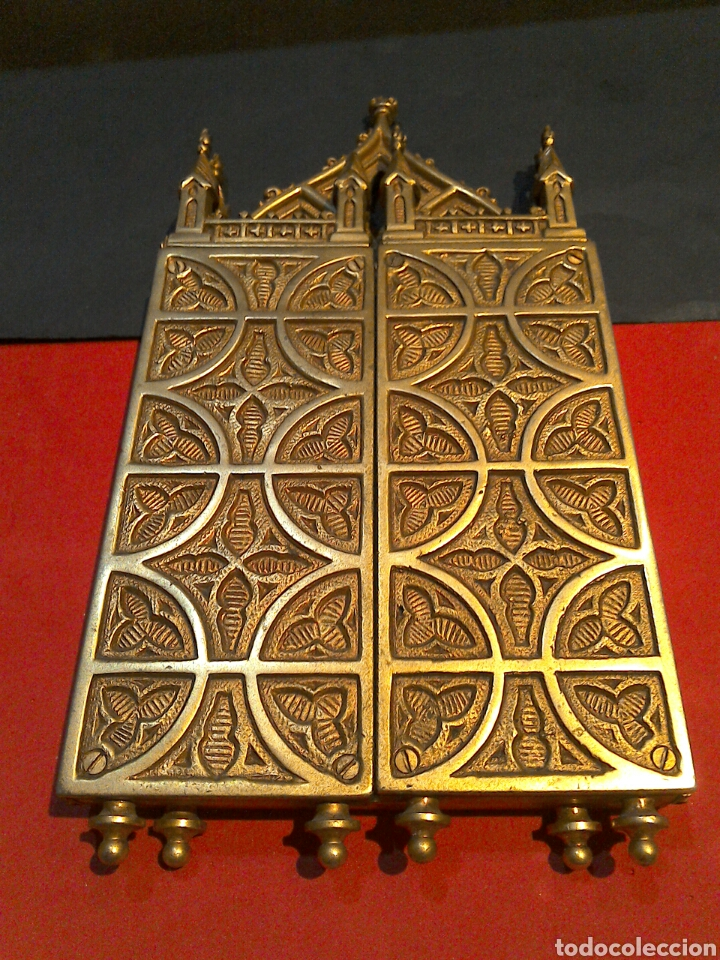 Arte: Antiguo Icono Triptico Ortodoxo Ruso en bronce - Foto 2 - 97086344