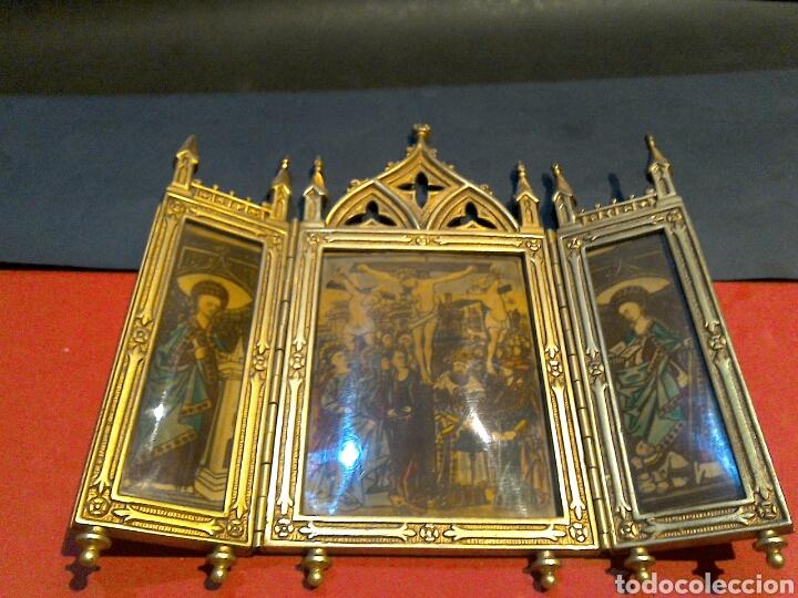 Arte: Antiguo Icono Triptico Ortodoxo Ruso en bronce - Foto 4 - 97086344