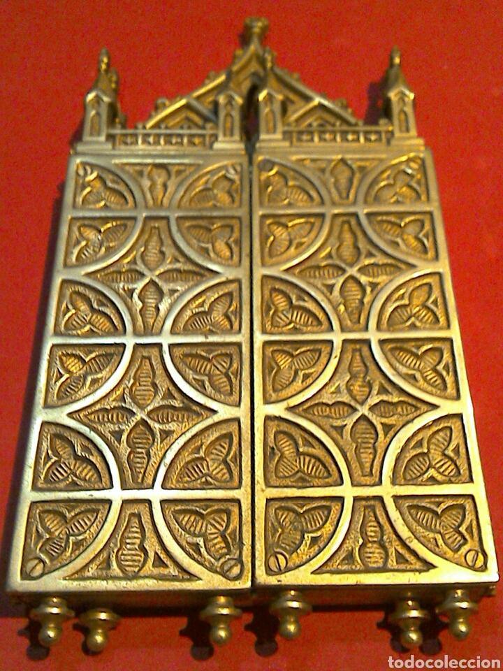 Arte: Antiguo Icono Triptico Ortodoxo Ruso en bronce - Foto 5 - 97086344