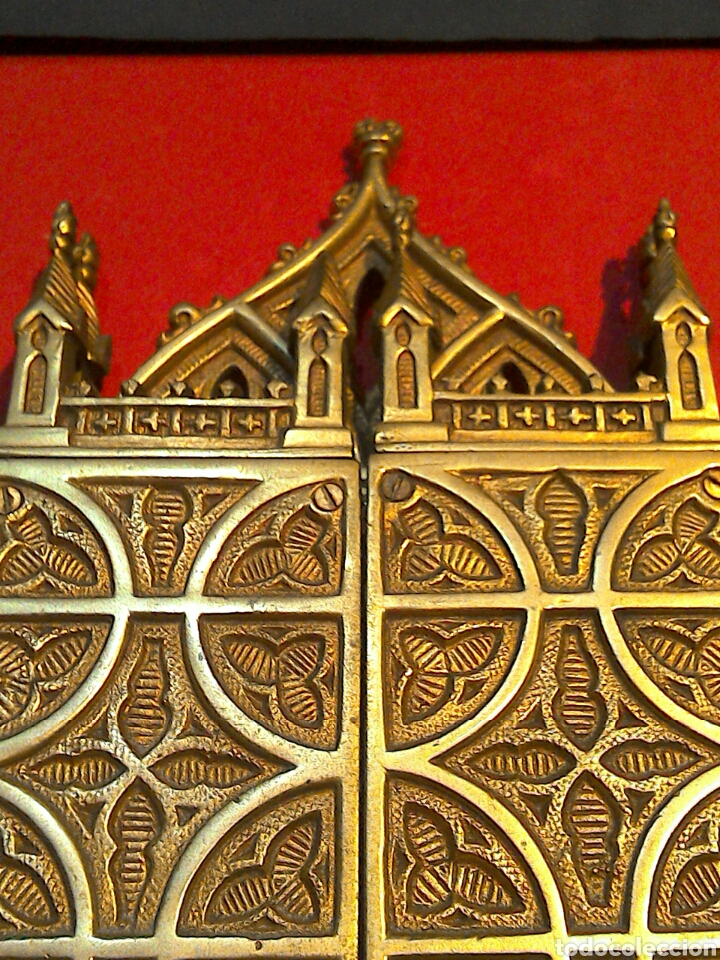 Arte: Antiguo Icono Triptico Ortodoxo Ruso en bronce - Foto 6 - 97086344