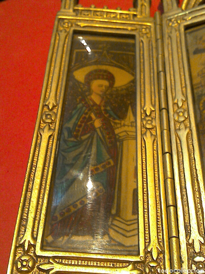 Arte: Antiguo Icono Triptico Ortodoxo Ruso en bronce - Foto 7 - 97086344