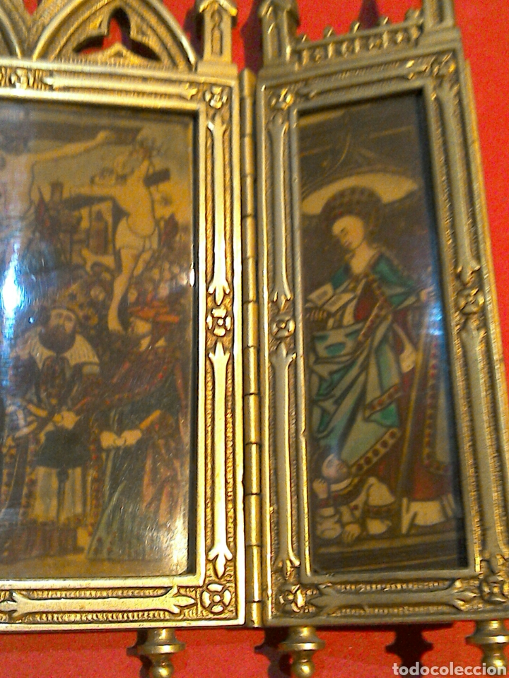 Arte: Antiguo Icono Triptico Ortodoxo Ruso en bronce - Foto 8 - 97086344