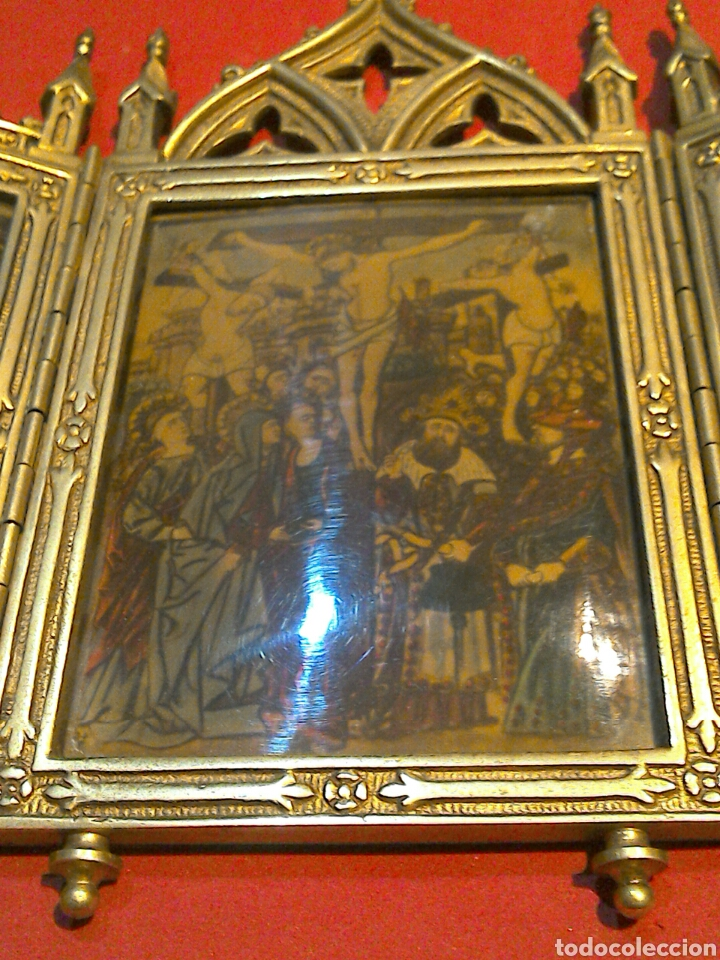 Arte: Antiguo Icono Triptico Ortodoxo Ruso en bronce - Foto 9 - 97086344