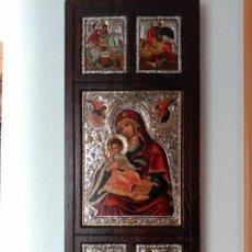 Arte: ICONO BIZANTINO DE PLATA LEY 950 - 61,5 X 26,5 CENTIMETROS - MADE IN GREECE - CERTIFICADO GARANTIA. Lote 97101867