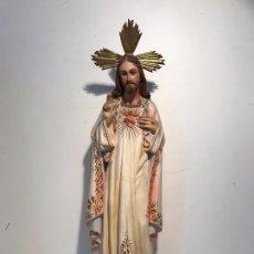 Arte: SAGRADO CORAZON DE JESUS, SELLO EL ARTE CATOLICO CASA BOCHACA OLOT. 52CM.. Lote 97103539