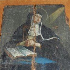 Arte: (M) OLEO RELIGIOSO S.XVIII S BRIGITTA V , 29 X 22 CM, HAY QUE RESTAURAR LA IMAGEN . Lote 97196879