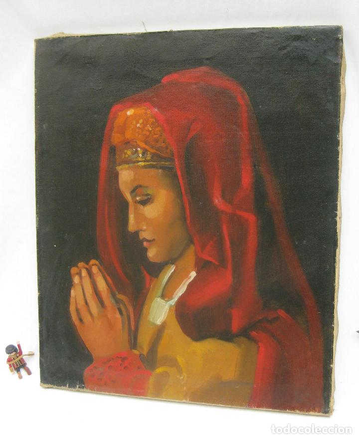 BONITA PINTURA AL OLEO ANTIGUA IMAGEN VIRGEN O MARIA MAGDALENA ? CON MANTILLA REZANDO ANTIGUO (Arte - Arte Religioso - Pintura Religiosa - Oleo)