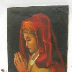 Arte: BONITA PINTURA AL OLEO ANTIGUA IMAGEN VIRGEN O MARIA MAGDALENA ? CON MANTILLA REZANDO ANTIGUO. Lote 82266664