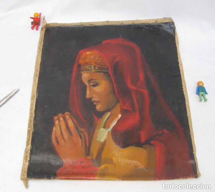 Arte: BONITA PINTURA AL OLEO ANTIGUA IMAGEN VIRGEN O MARIA MAGDALENA ? CON MANTILLA REZANDO ANTIGUO - Foto 5 - 82266664